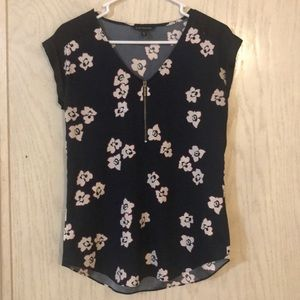 Express navy blue blouse with white flowers